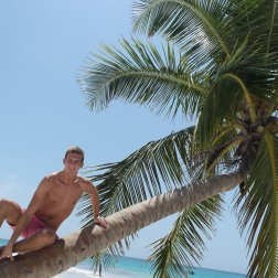 Robbie up a Palm Tree | Tulum