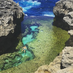 Swimming at Angel's Billabong on Nusa Penida
