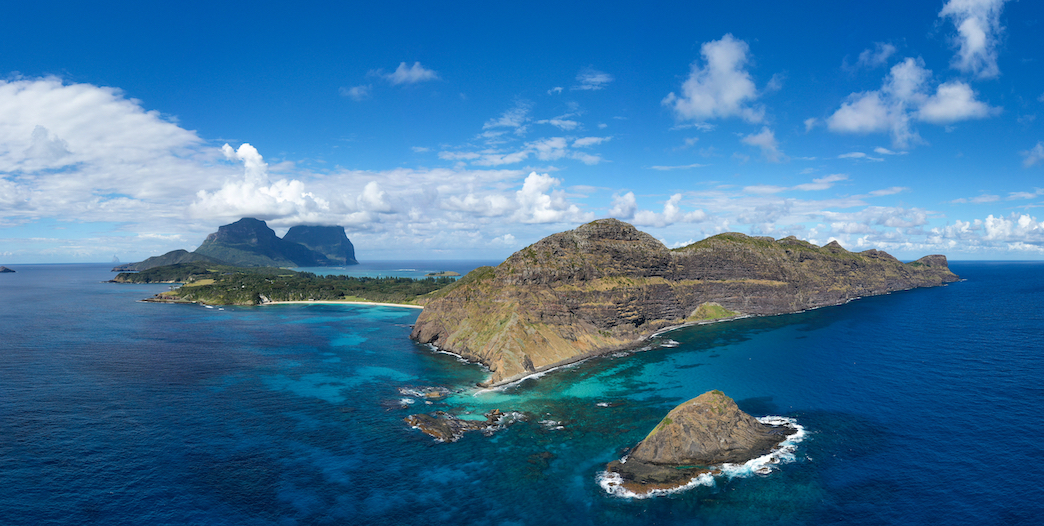 Panoramic photo of Lord Howe Island on a Blue Day